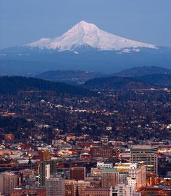 Skyline of Portland OR and Mt Hood
